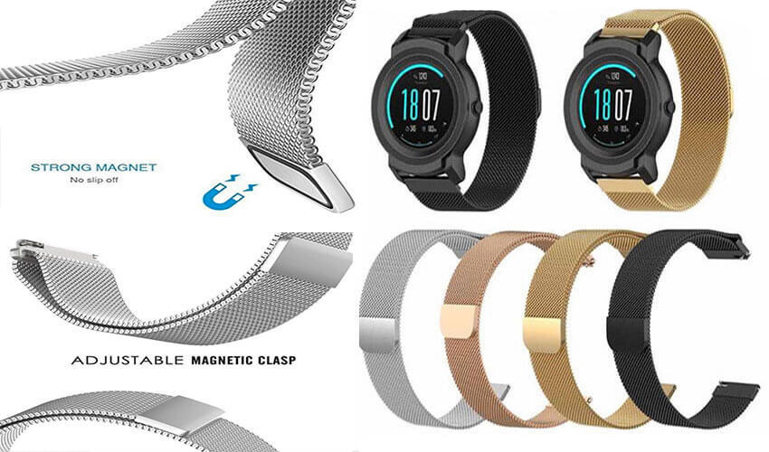 Металлический-браслет-для-GARMIN-Universal-20-Milanese-Loop-Metal-Braselet-Silver