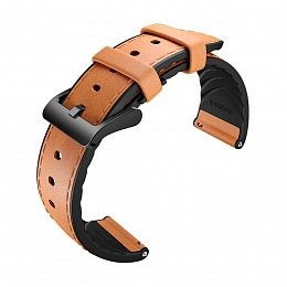 Кожаный ремешок MOBVOI TicWatch Pro Hybrid Leather Strap 22mm Grey/Brown