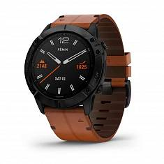 Мультиспортивные часы GARMIN Fenix 6X Pro Sapphire Black DLC with Chestnut Leather Band