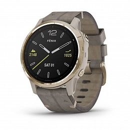 Мультиспортивные часы GARMIN Fenix 6S Pro Sapphire Light Gold with Shale Grey Leather Band