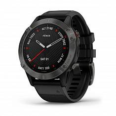 Мультиспортивные часы GARMIN Fenix 6 Sapphire Carbon Grey DLC with Black Band