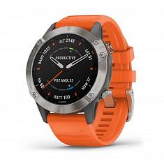 Мультиспортивные часы GARMIN Fenix 6 Pro Sapphire Titanium with Ember Orange Band