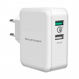 Сетевое зарядное устройство RAVPower USB Qualcomm Quick Charge 3.0 (4X Faster) 30W Dual USB Plug Wall Charger White (RP-PC006WH)
