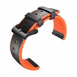 Кожаный ремешок MOBVOI TicWatch Pro Hybrid Leather Strap 22mm Black/Orange