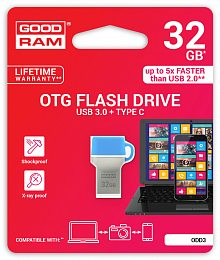 Флеш накопитель USB 3.0 32GB Type-C GOODRAM ODD3 (DualDrive) Blue (ODD3-0320B0R11)