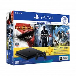 Игровая приставка SONY PlayStation 4 Slim 500 Gb Black HZD+GOW3+UC4+PSPlus 3М (9946564)