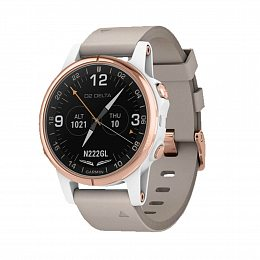Авиационные часы GARMIN D2 Delta S White/Rose with Beige Leather & White Silicone Bands